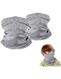 2 Pack Kids Neck Gaiter, Multifunctional Face Scarf, Face Balaclava Bandana for Boys and Girls Fishing Hiking Cycling Gray