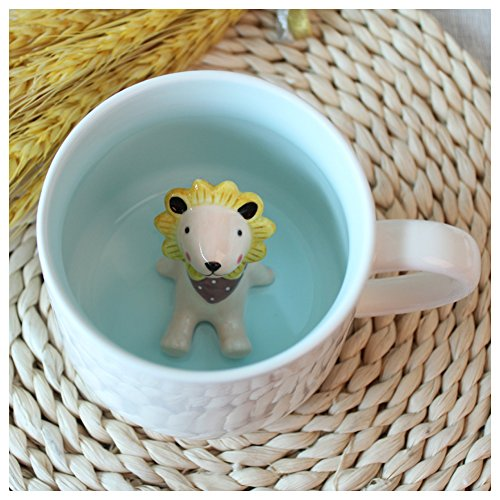 3D Cute Cartoon Miniature Animal Figurine Ceramics Coffee Cup - Baby Animal Inside, Best Office Cup & Birthday Gift (Lion) by Kederastyle