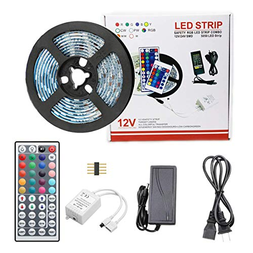 ZtuoYong LED Strip Lights, 16.4ft RGB LED Light Strip 5050 LEDs, RGB Color Changing LED Strip Lights with Remote for Home Lighting Kitchen Bed Flexible Strip Lights, TV Strip ()