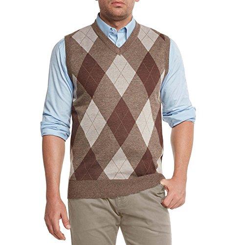 True Rock Men's Argyle V-Neck Sweater Vest-Brown/Beige-Small