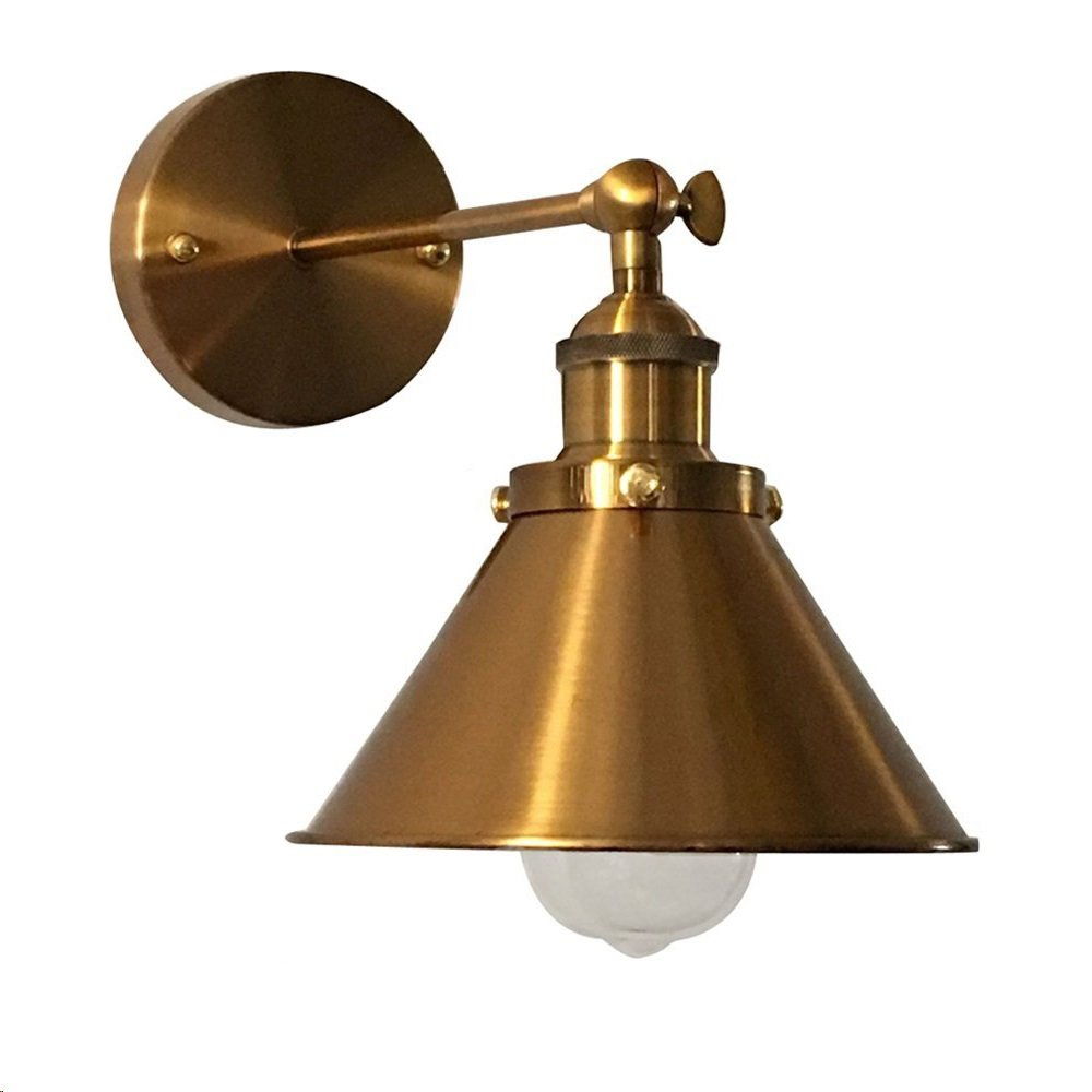 Adjustable Brass Finish 1 Light Wall Sconce - LITFAD 7'' Industrial Wall Lamp Lighting Fixture with Cone Shade