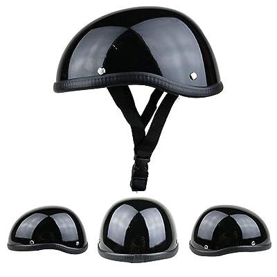 1 Pièce 57-62cm ABS Casque De Moto En Plastique Demi-casque Pour Rétro Noir Brillant (Color : 3-L) Auto et Moto