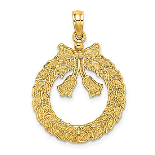 14K Yellow Gold Satin & Polished Christmas Wreath Charm Necklace Pendant with 18