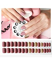 False Nails Press-on Kit 30pcs - Diynail Full Cover Pre-glued 24 Colors with 6 Accents Soft Nails for Women