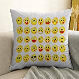 Emoji Bedding At Target FreeKite Emoji Printed Custom Pillowcase Funny Yellow Heads Various Facial Expressions Round Shapes Happy Sad Laughing Decorative Sofa Hug Pillowcase W20 x L20 Inch Yellow Red Black
