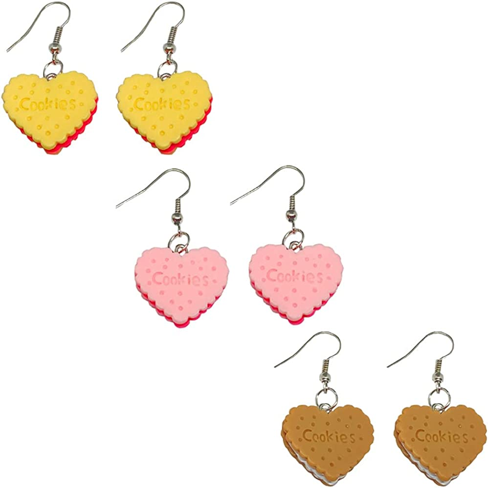 TIANHONGYAN 3 pairs of handmade simulation food cookies pendant earrings cute and unique charm heart-shaped biscuit Dangle Drop earrings set for women girls jewelry gifts