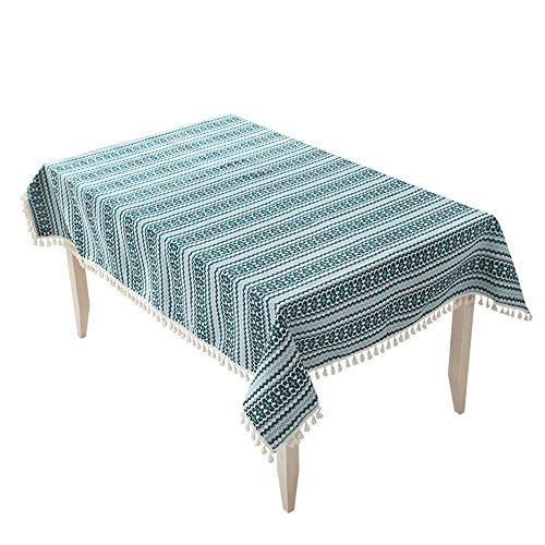 Thickened Rectangular Fringed Blended Solid Tablecloth (Color : Blue, Size : 140200cm)
