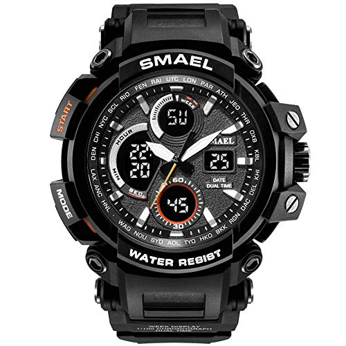 SMAEL Mens Sport Watch Dual Quartz Movement with Analog-Digital Display and EL Backlight Watch for Men