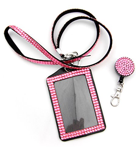 ALL in ONE Rhinestone Lanyard Bling Crystal Necklace + Badge Reel + Card Holder for Business Id/key (PINK)