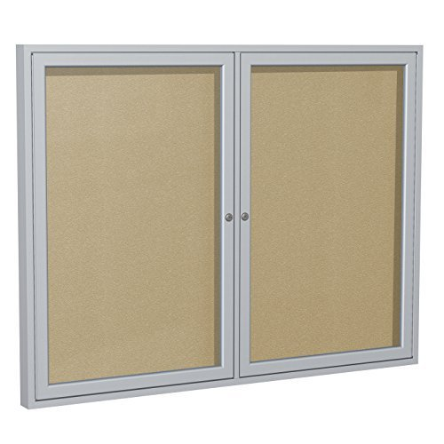 Ghent 48 x 60 inches Outdoor Satin Frame Enclosed Vinyl Bulletin Board, Caramel, Made in the USA by Ghent