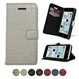 Celicious White PU Leather Croco Folio Wallet Case for Apple iPhone 5c