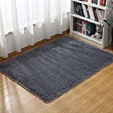 Junovo Thick Indoor Area Rugs for Living Room,4 Feet x 5.3 Feet,Grey (Upgrade Version)