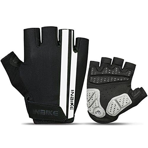 INBIKE Mountain Bike Gloves for Men, Cycling Gloves MTB Paded Half Finger (White, M)