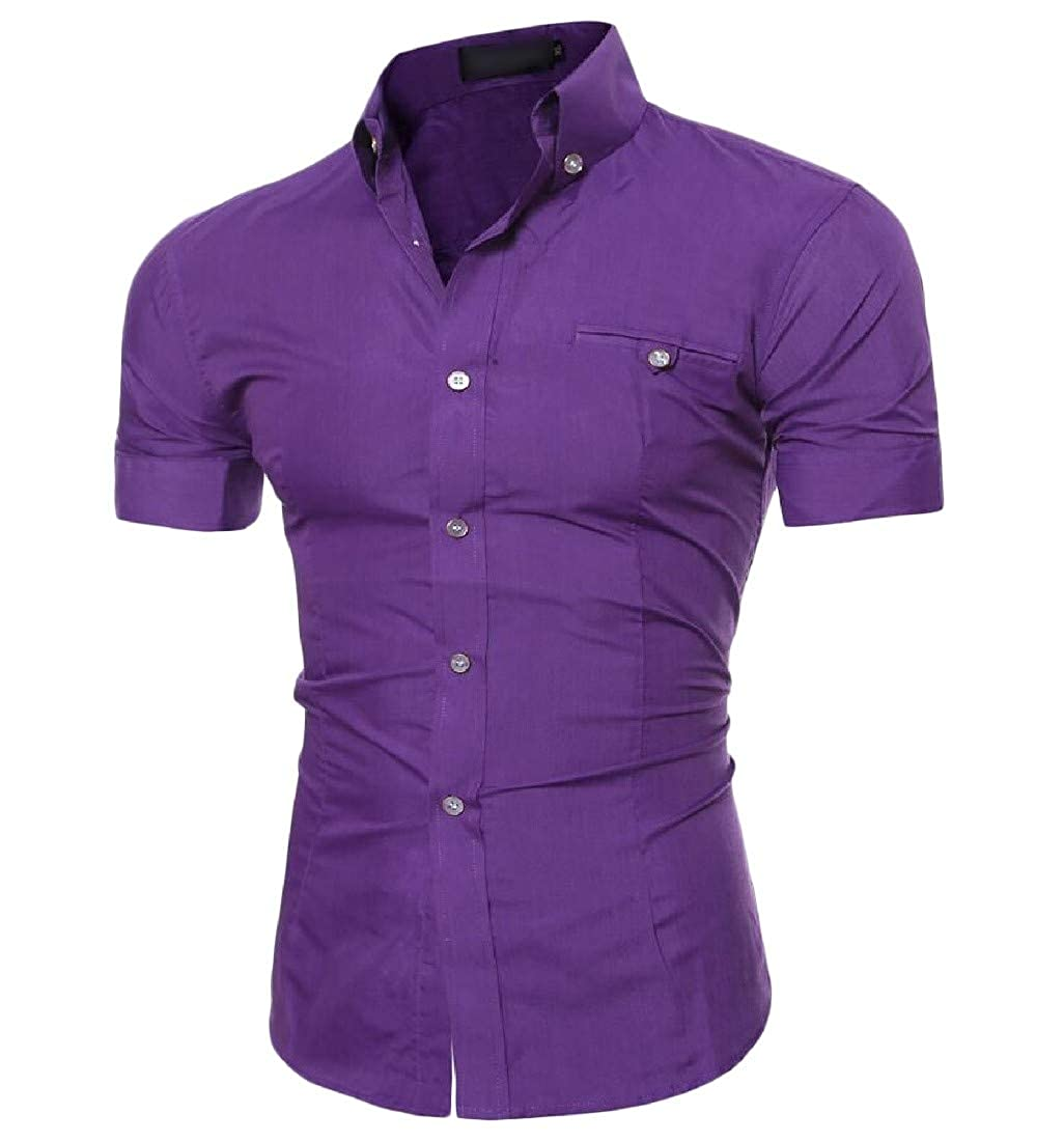 Joe Wenko Mens Casual Button Down Pure Color Short Sleeve Slim Fit Shirts