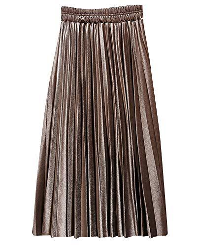 Yonglan Jupe Midi Femme Taille lastique Taille Haute Coupe Slim Jupe Rtro Jupe Plisse Kaki