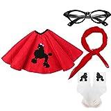50s Girls Costume Accessory Set - Poodle Skirt, Chiffon Scarf, Cat Eye Glasses,Bobby Socks (OneSize, Red)