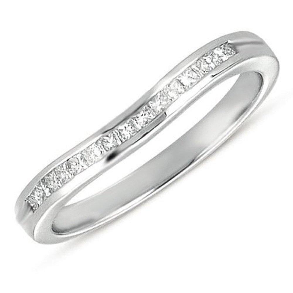 Dazzlingrock Collection 0.23 Carat (ctw) 14k Princess Diamond Ladies Anniversary Wedding Guard Ring, White Gold, Size 8.5 by Dazzlingrock Collection