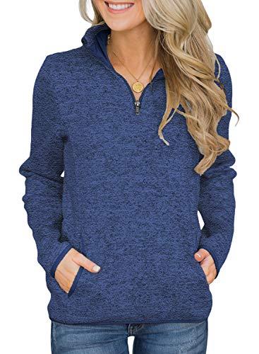 Arainlo Plus Size Sweatshirts for Women Ladies Long Sleeve Winter Fall 1/4 Zip Kangroo Pockets Pullover Shirts Tops Blue XXL