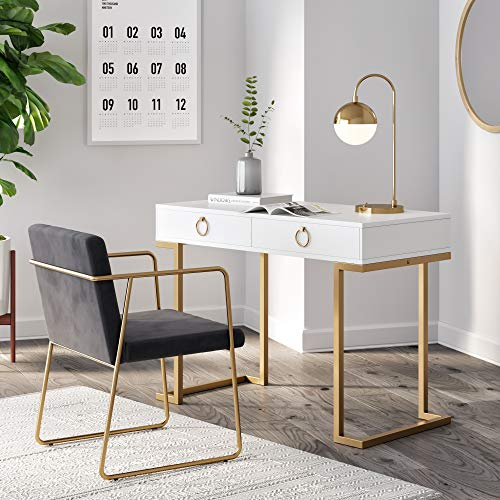 Nathan James 53301 Leighton Two-Drawer Home Office Computer Desk Vanity Table Wood and Metal, White/Gold