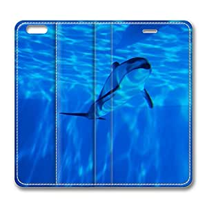 iPhone 6 Leather Case, Personalized Protective Flip Case Cover Dolphin Swimming Underwater for New iPhone 6