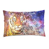 ALAZA Tiger Head in Solar System Space Cotton Lint Pillow Case,Double-sided Printing Home Decor Pillowcase Size 16''x24'',for Bedroom Women Girl Boy