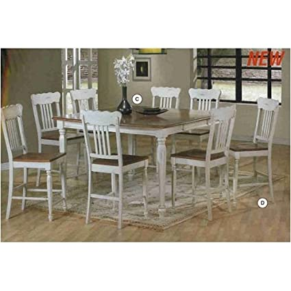 Amazon Com Two Tone Dining Table With 8 Chairs Kitchen