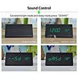 Dual power Multi-function Wooden LED Alarm Clock with Temperature display ,Triple intelligent alarm, Sound-control screen