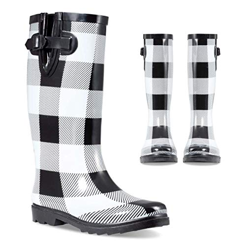 Twisted Women's Rubber Rain Boots | Ladies, Knee High, Jelly Lined Water Resistant