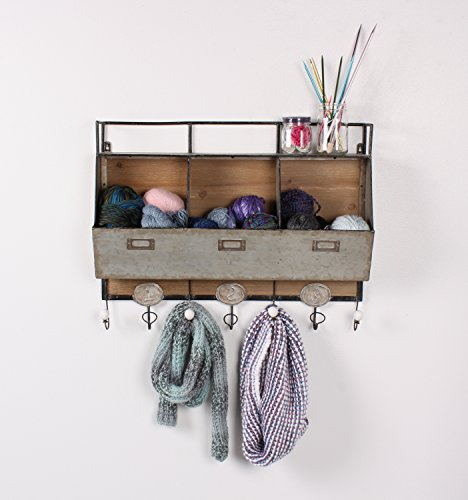 Kate and Laurel Arnica Wood and Metal Wall Storage Pockets