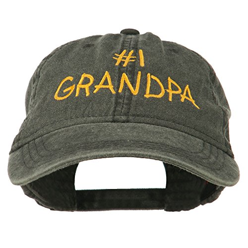 Number Grandpa - Number 1 Grandpa Letters Embroidered Washed Cotton Cap - Black OSFM