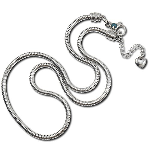 European Charm Bracelet Necklace For Women and Girls Bead Charms, Stainless Steel Snake Chain, Claw 18 (Disney Charm Necklaces)