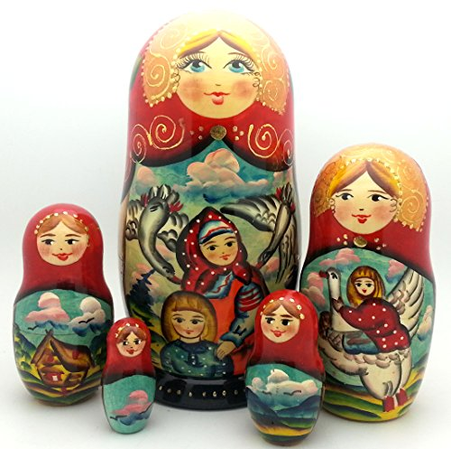 Nesting dolls Russian Hand Carved Hand Painted 5 piece Set Swan & Geese fairy tale