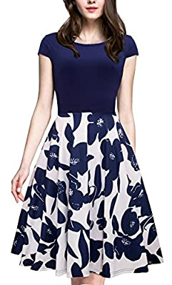 HOMEYEE Women's 1950s Vintage Elegant Cap Sleeve Swing Party Dress A009