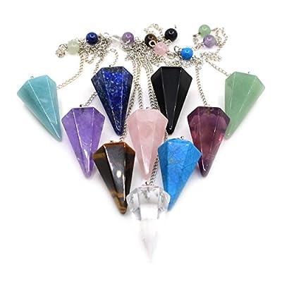 Justinstones Gemstone Rock Crystal Hexagonal Pointed Reiki Chakra Pendant Pendulum