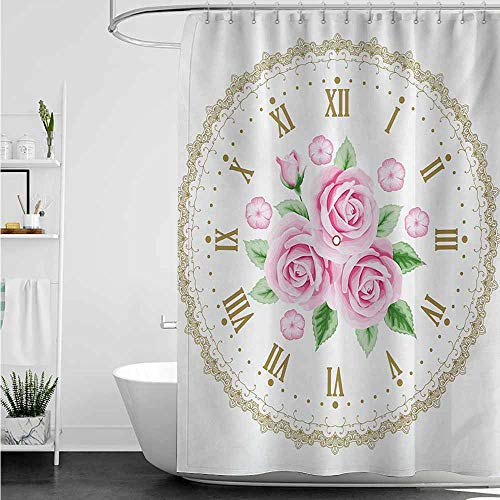 (Long Shower Curtain,Shabby Chic Vintage Clock Face Roses Roman Numbers Antique Vintage Style,Shower Hooks are Included,W55x84L,Pale Pink Green Dark Khaki)