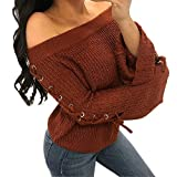 Dainzuy Ladies Sexy Casual Tops,Women Flare Sleeve Off Shoulder Bandage Sweater Casual Knitted Shirt