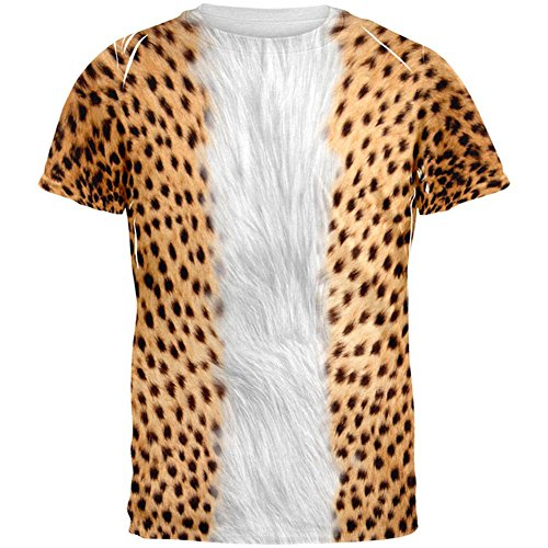Halloween Cheetah Costume All Over Adult T-Shirt - Large