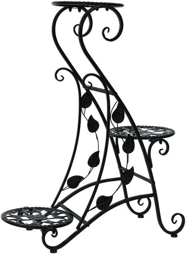 XJJUN-Estantería de flores , De Pie 3 Capas Bandeja Redonda Talla Hueca Hierro Forjado Colocar Un Balcón Sala Cargar Los Portes, 3 Colores (Color : Black, Size : 56x22x73cm)