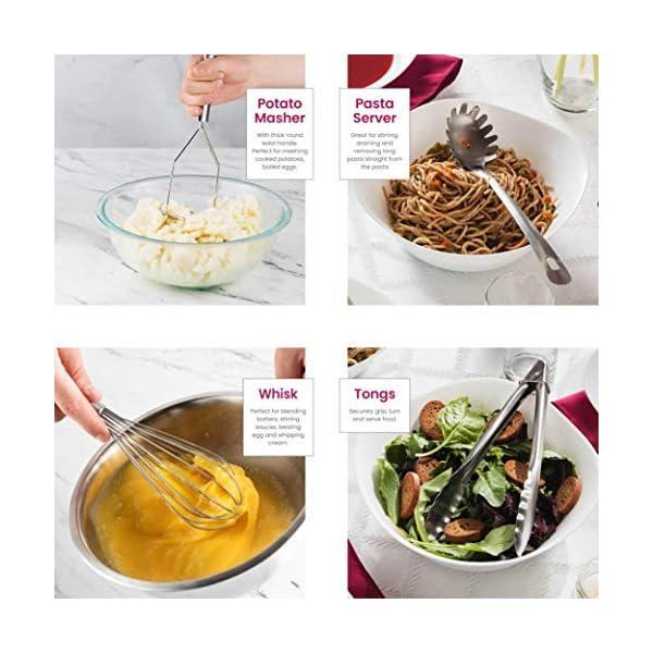 Stainless Steel Kitchen Utensil Set - 10 piece premium Non-Stick & Heat Resistant Kitchen Gadgets, Turner, Spaghetti… 4