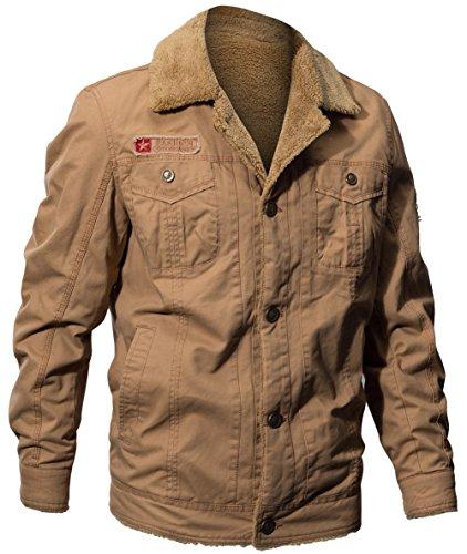 Doublure Épaissir Rétro Fgyyg Automne Chaud Faux Col Hiver Kaki Manteau Montant Mode Veste Parka Cachemire Hommes Classique Blouson Militaire wvXxrAq56v