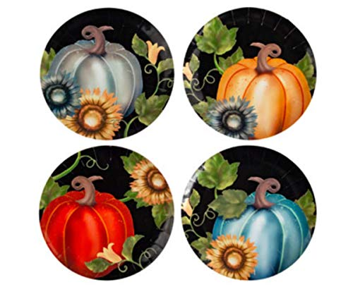 Melamine Set of 4 Accent Plates - Pumpkin Fall Harvest