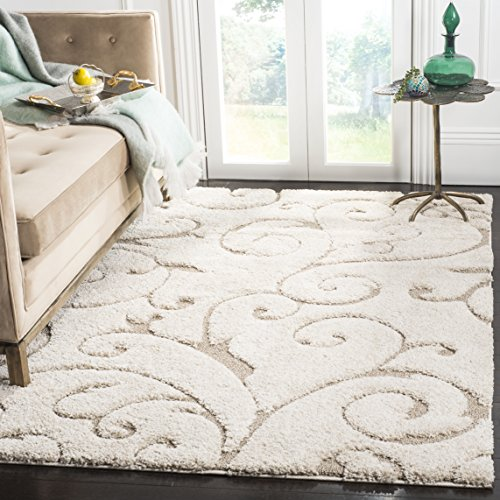 Safavieh Florida Shag Collection SG455-1113 Scrolling Vine Cream and Beige Graceful Swirl Area Rug (9'6