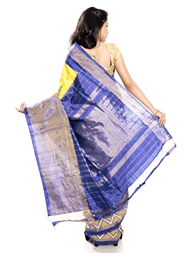 Mandakini — Indian Women's Pochampally - Handloom - Ikat Pure Silk Saree (Yellow ) (MK362) by Mandakini (Image #4)