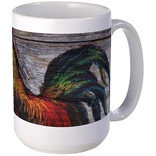 (CafePress Rustic Farm Country Rooster Mugs Coffee Mug, Large 15 oz. White Coffee Cup)