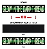 Northern Safari Glow-in-the-Dark Personalized Uniform Name Tapes: Sew On or Sew On, Black Fabric/Green Line 4'' Sew On
