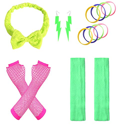 JustinCostume Women's 80s Outfit Accessories Neon Earrings Leg Warmers Gloves (M) -
