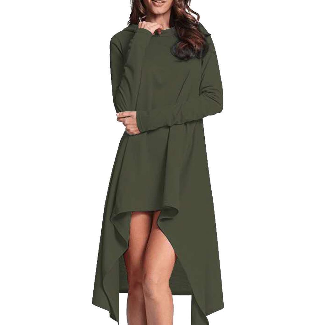 AutumnFall Women's Asymmetric Hem Long Sleeve Hoodies Sweatshirts Dress Loose Casaul Long Hooded Tunic Tops Blouse (L, Green)