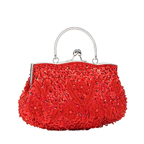 Messenger Dress Clutch Kiss Beaded Design Shoulder WUHX Luxury One Dinner Women's Evening Flower Lock J Bag Sequins Vintage wq17Z