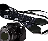 Sugar skull camera strap. Modern DSLR / SLR Camera Strap. Black and grey skulls camera strap. Durable, light weight and well padded camera strap. code 00165