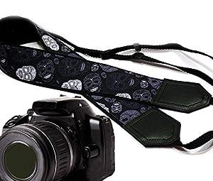 Sugar skull camera strap. Modern DSLR / SLR Camera Strap. Black and grey skulls camera strap. Durable, light weight and well padded camera strap. code 00165